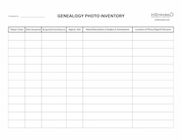 GENEALOGY PHOTO INVENTORY paper, .pdf, .xlsx