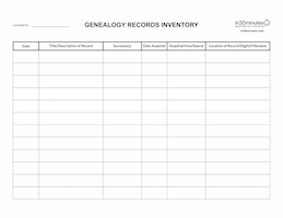 GENEALOGY RECORDS INVENTORY paper, .pdf, .xlsx